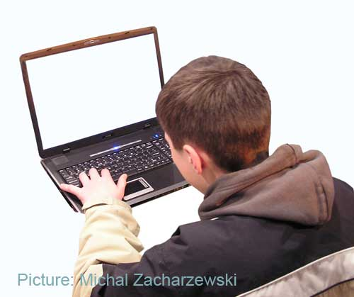 Small boy at a laptop