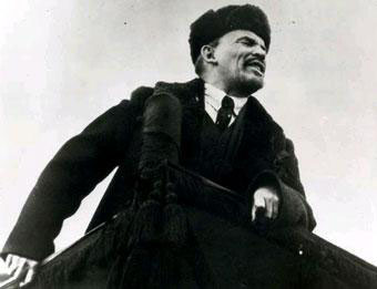 Lenin giving a speech.