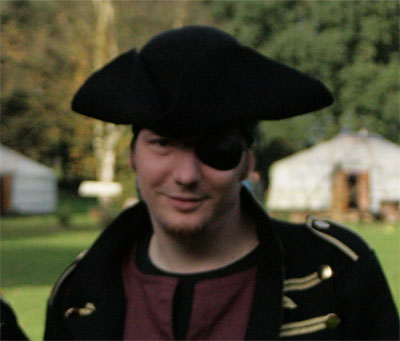The author in a pirate outfit.